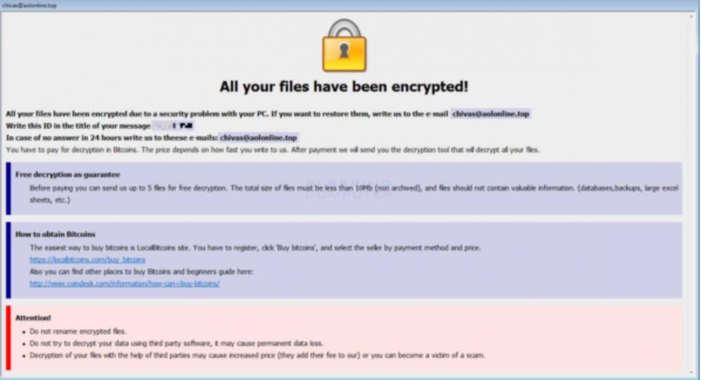 Dharma (aka CrySIS) ransomware