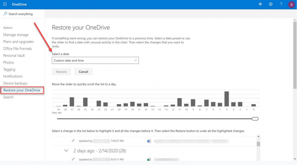 Using the Files Restore to recover files in OneDrive