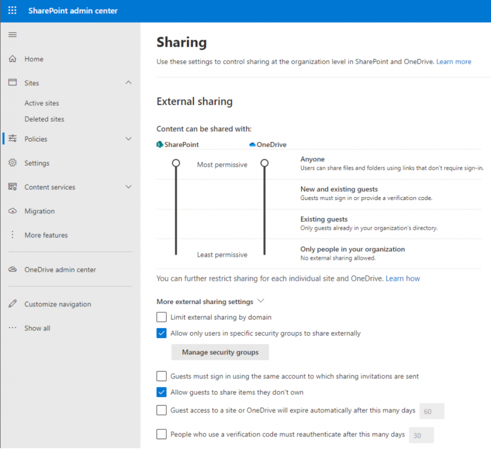 Configuring advanced sharing settings in Microsoft 365 for SharePoint and OneDrive