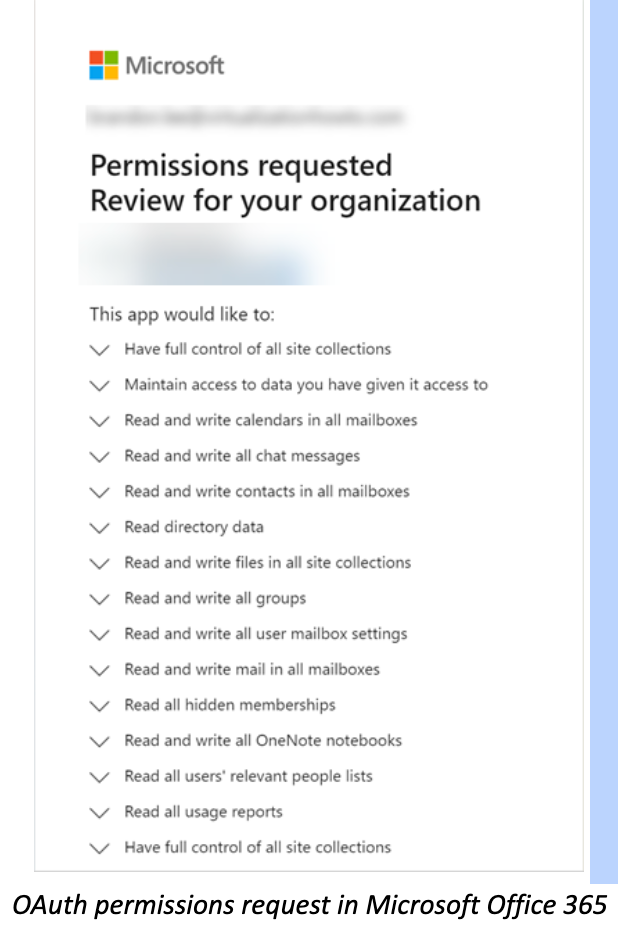 OAuth permissions request in Microsoft Office 365