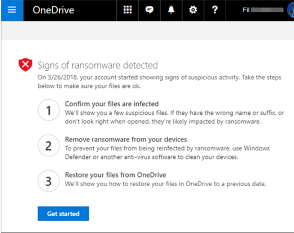 Signs of ransomware detected by Microsoft