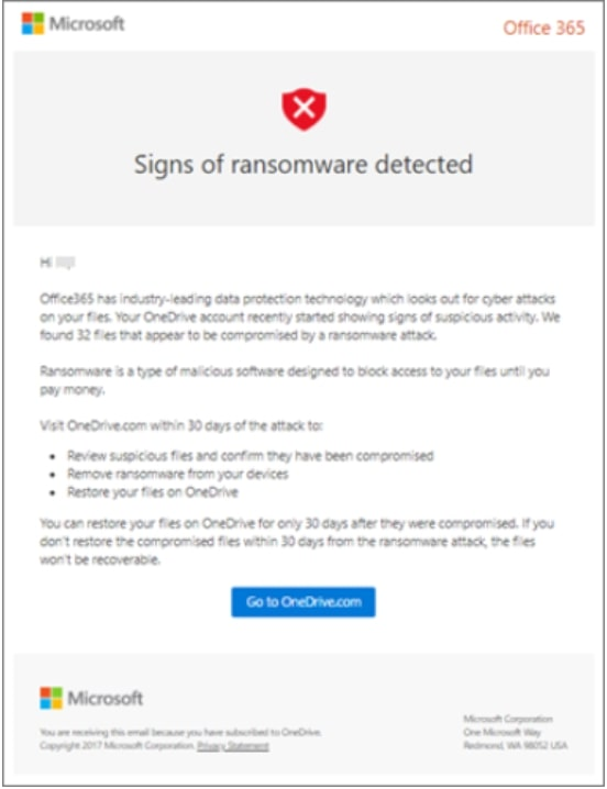 Microsoft 365 ransomware detection message