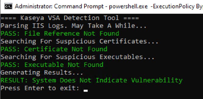 Running the Kaseya detection tool