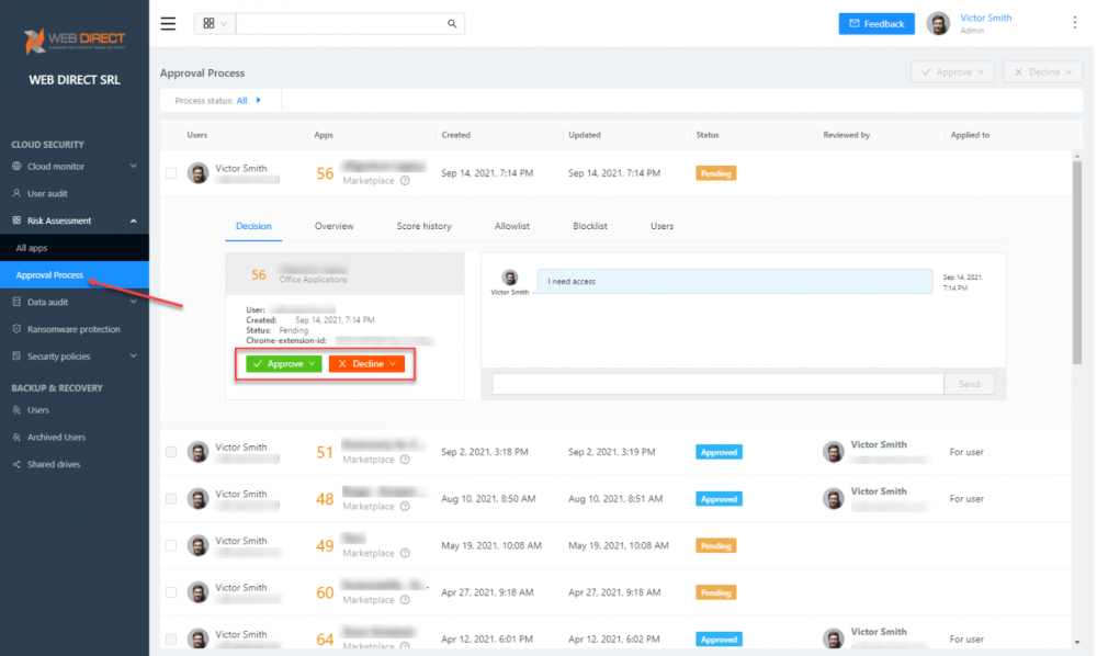 Admins can approve or decline cloud SaaS applications