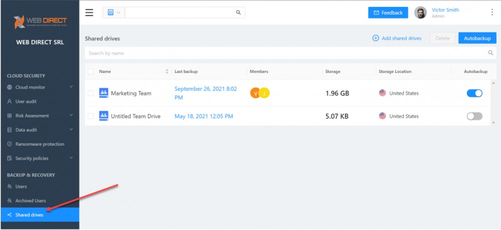 Backup shared drives in Google Workspace