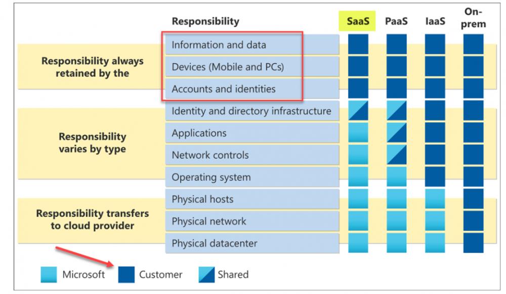 Responsibility matrix for Microsoft cloud services