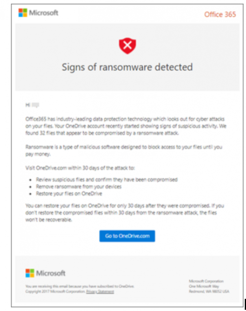 Signs of ransomware detected message in Microsoft 365