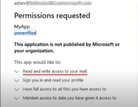 A malicious program requesting read and write permissions