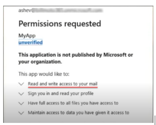 Cloud SaaS application requesting permissions