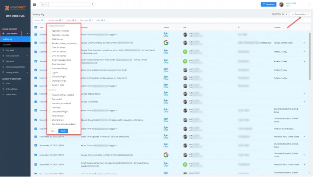 SpinOne Cloud Monitor activity log