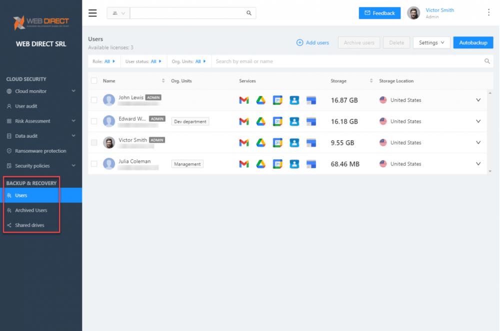 SpinOne provides backups of cloud SaaS environments